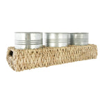 Hand Woven Bankuan Tray with 3 Metal Containers