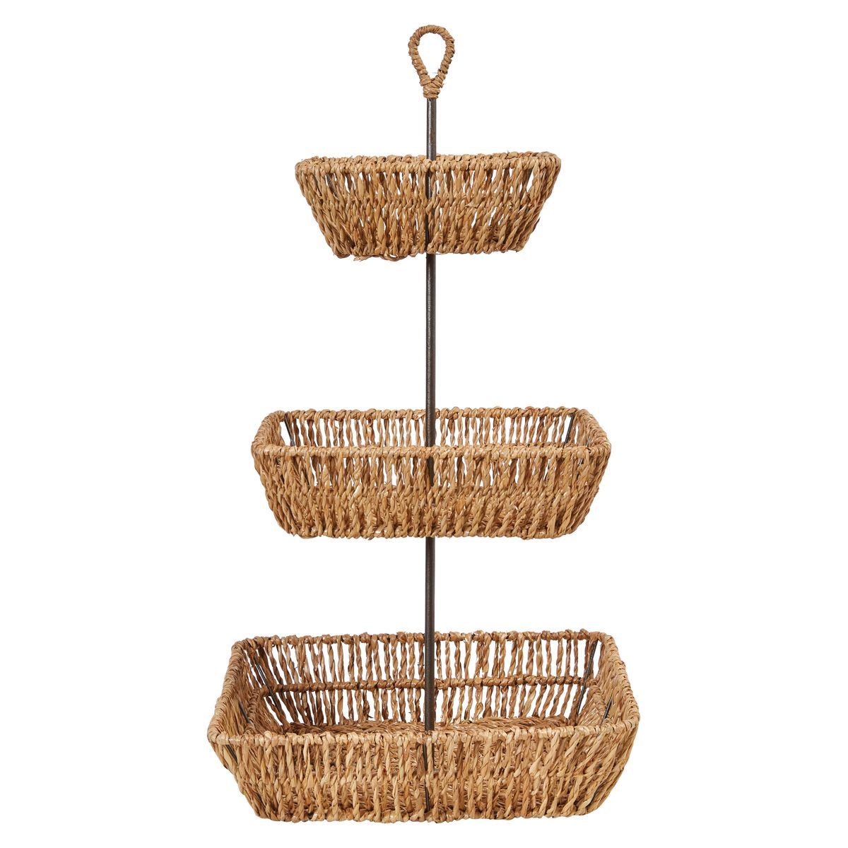 Decorative Hand-Woven Seagrass 3-Tier Tray with Handle