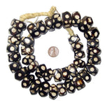 Polka Dot Batik Bone Beads, Faceted