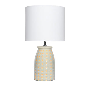 Stoneware Table Lamp Dotted, Grey