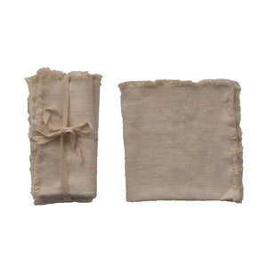 Square Linen Napkins, Cream