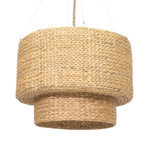 Raja Double Drum Seagrass Chandelier-Natural