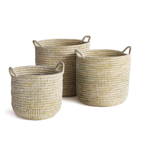 Rivergrass Round Baskets with Handles, 3 Sizes