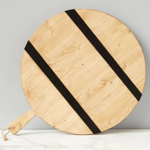 Black & Natural Round Mod Charcuterie Board, Large