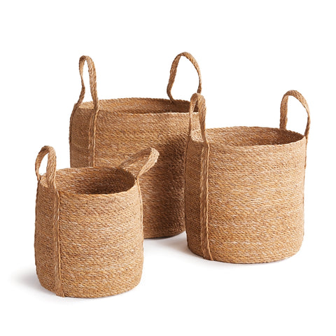 Seagrass Round Basket With Long Handles, 3 Sizes