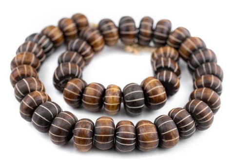 Carved Watermelon Brown Bone Beads, Large