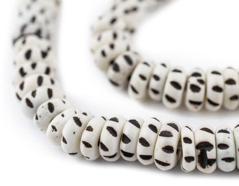 White Carved Disk Bone Beads, 8mm