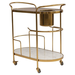 Metal 2-Tier Bar Cart on Casters with Built-in Ice Bucket with Marble / Mango Wood Shelves