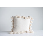 Square Cotton Pillow with Tassels