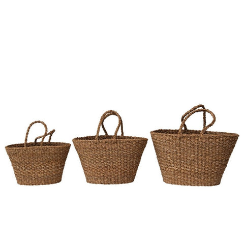 Hand-Woven Seagrass Totes with Handles, 3 Sizes