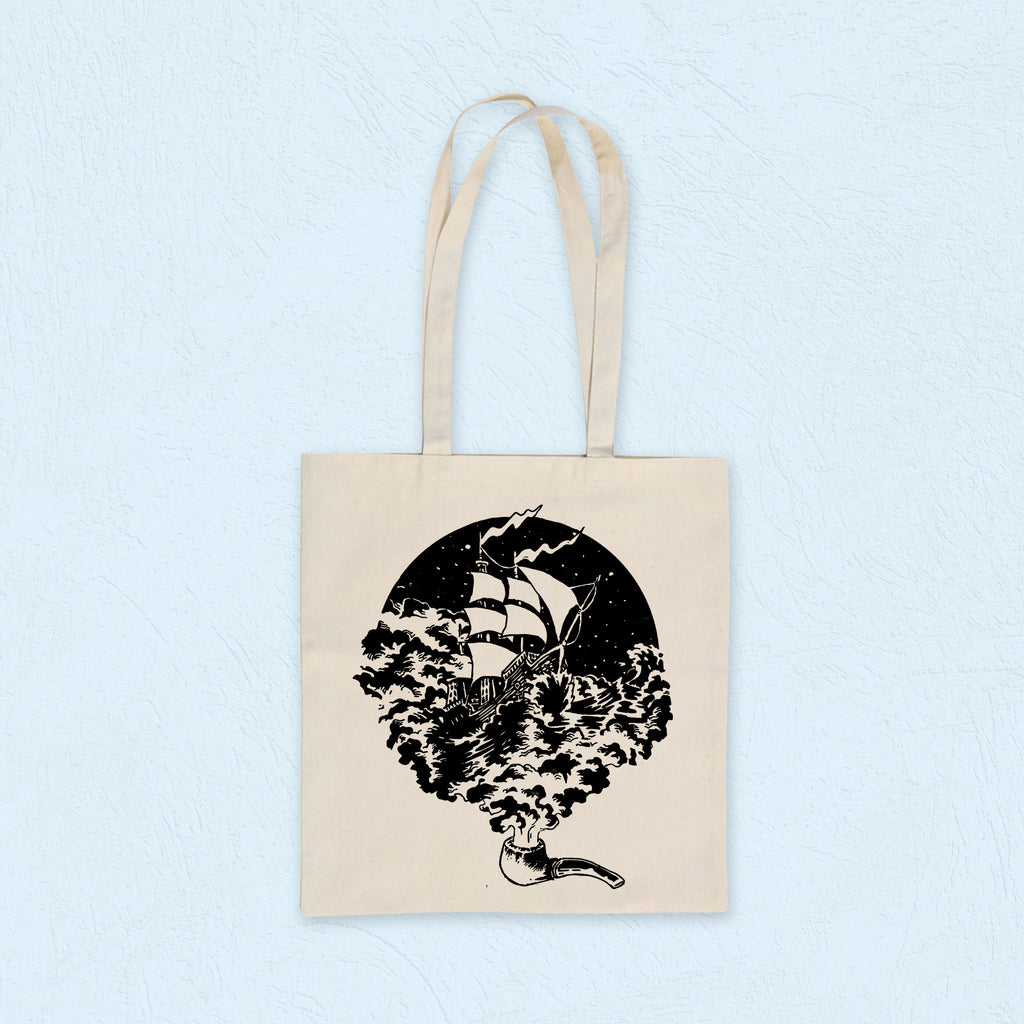 Shopper Sailing Ship (Black on White)
