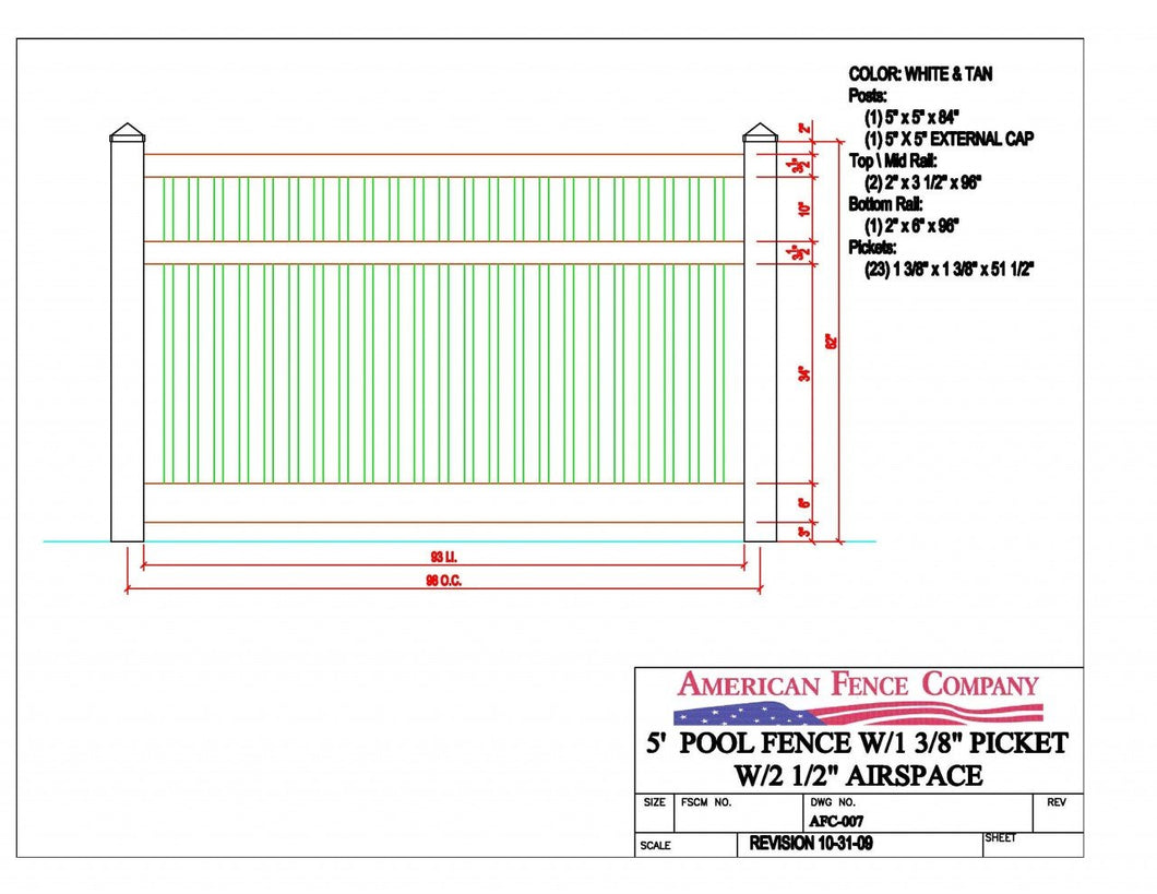 AFC-007   5' Tall x 8' Wide Pool Fence with 2-1/2