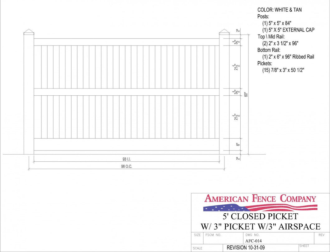 AFC-014   5' Tall x 8' Wide Closed Picket Fence with 3