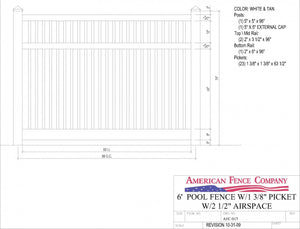 "AFC-017   6' Tall x 8' Wide Pool Fence with 2-1/2"" Air Space"