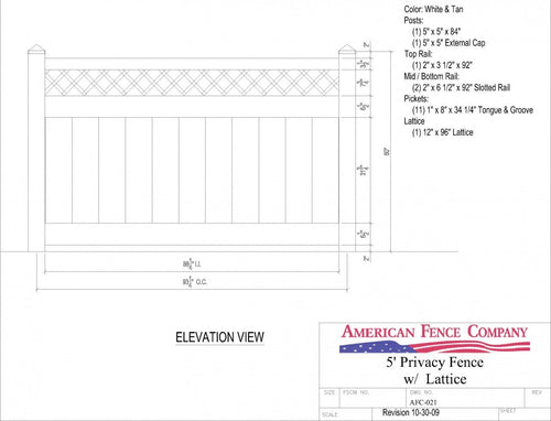 AFC-021   5' Tall x 8' Wide Privacy Fence with Lattice Accent - White
