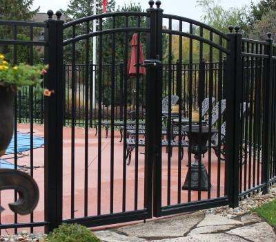 14' Aluminum Ornamental Double Swing Gate - Flat Top Series A - Over Arch