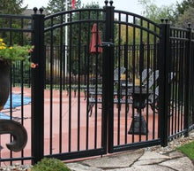 12' Aluminum Ornamental Double Swing Gate - Flat Top Series A - Over Arch