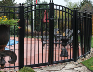 6' Aluminum Ornamental Double Swing Gate - Flat Top Series A - Over Arch