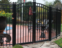 24' Aluminum Ornamental Double Swing Gate - Flat Top Series A - Over Arch
