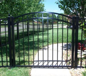 10' Aluminum Ornamental Single Swing Gate - Flat Top Series C - Over Arch
