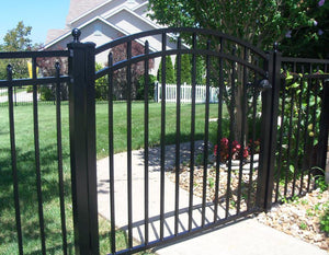 8' Aluminum Ornamental Single Swing Gate - Flat Top Series C - Over Arch