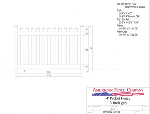 "K-15   4' Tall x 6' Wide Picket Fence with 3"" Air Space"