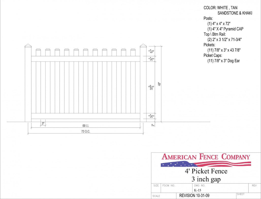 K-15   4' Tall x 6' Wide Picket Fence with 3