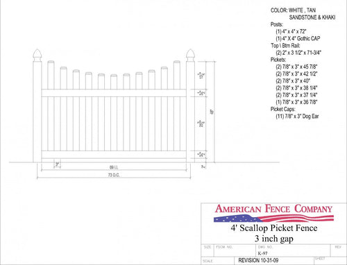 "K-97   4' Tall x 6' Wide Underscallop Picket Fence with 3"" Air Space - White"