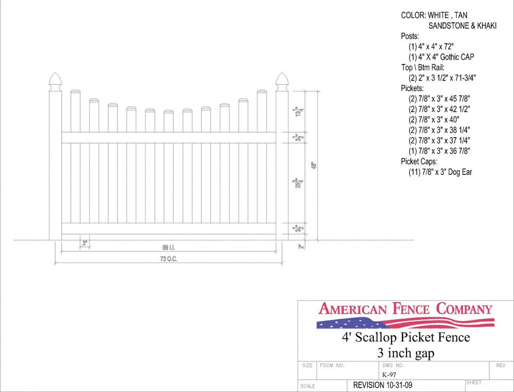 K-97   4' Tall x 6' Wide Underscallop Picket Fence with 3