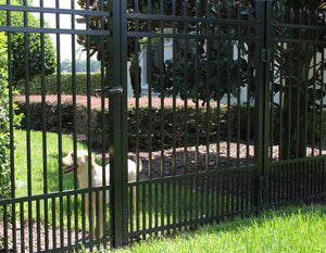 8' Aluminum Ornamental Single Swing Gate - Spear Top Series B - No Arch