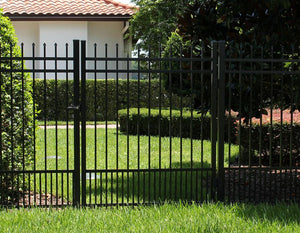 8' Aluminum Ornamental Single Swing Gate - Spear Top Series H - No Arch