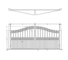 Over Arch Swing Gate with Alternating Pickets and Rings
