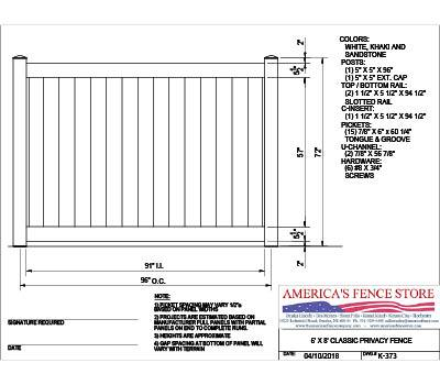 K-373 6' Tall x 8' Wide Privacy Fence - White