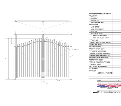 "96"" x 72"" Overscallop Spear Top Double Drive Gate"