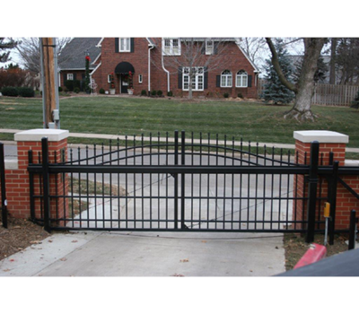Over Arch Aluminum Cantilever Gate - 6' tall 12' opening 18' overall