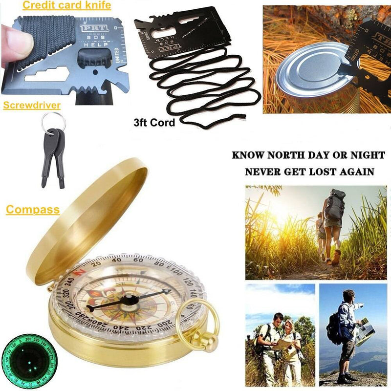 Survival Kit Set for Outdoor and Camping Compass