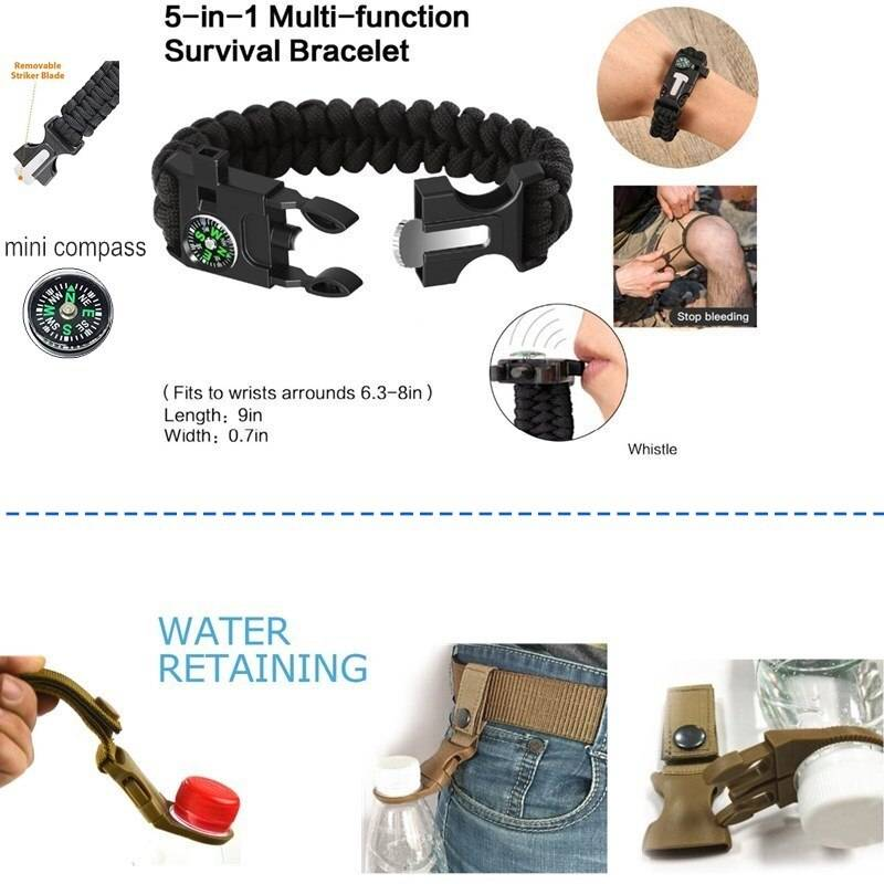 Survival Kit Set for Outdoor and Camping Survival Bracelet
