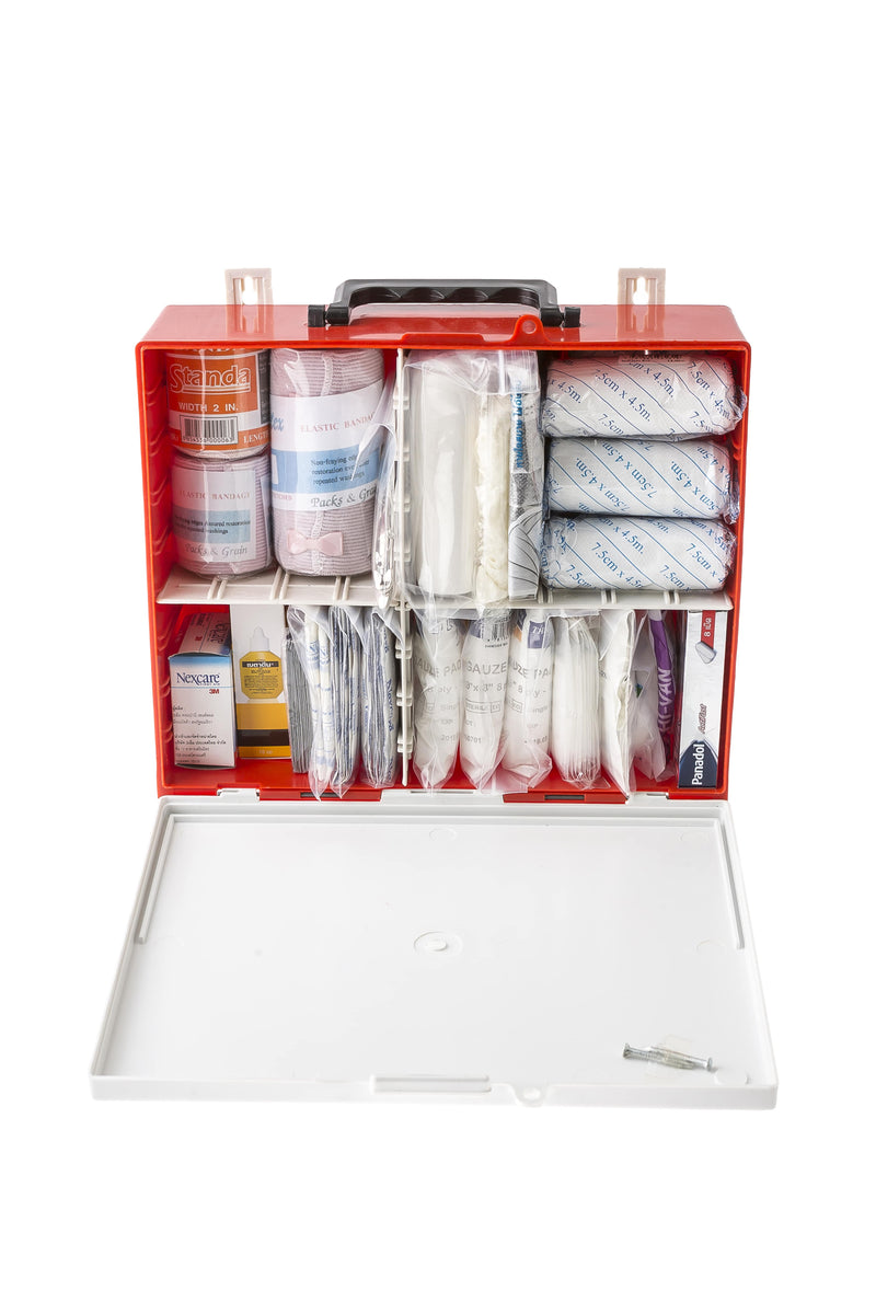 Mountable first aid box kit cabinet with supplies inside