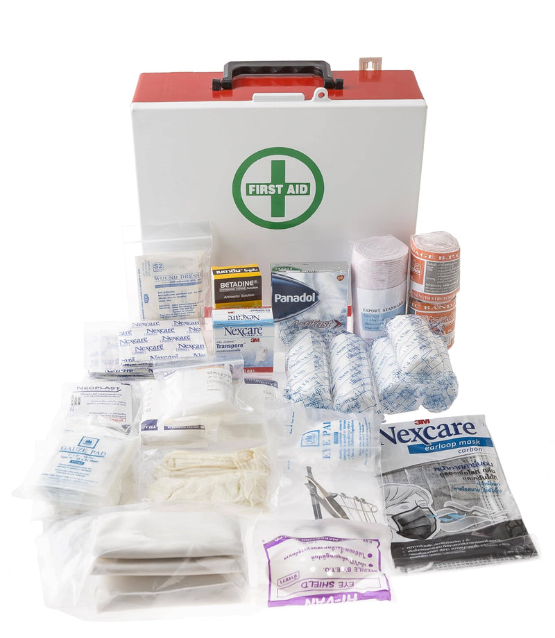 Mountable first aid box with supplies
