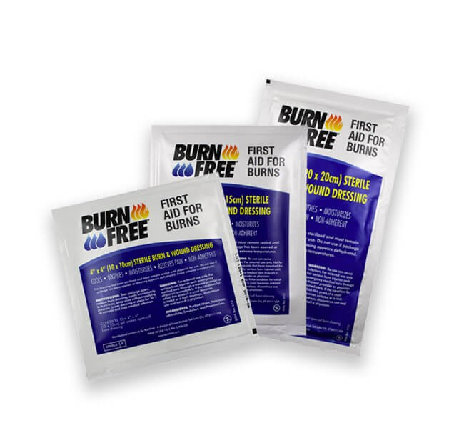 First Aid Kit for Burns Burnfree burn dressing burn gel burn care