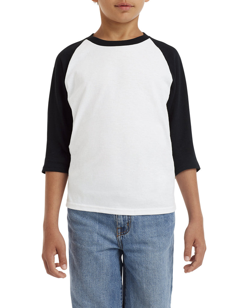 Gildan-G570B-Youth Heavy Cotton™ 5.3 oz. 3/4-Raglan Sleeve T-Shirt