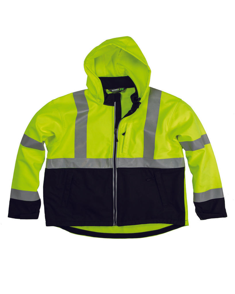 Berne-HVJS206-Men's Hi-Vis Class 3 Hooded Softshell Jacket