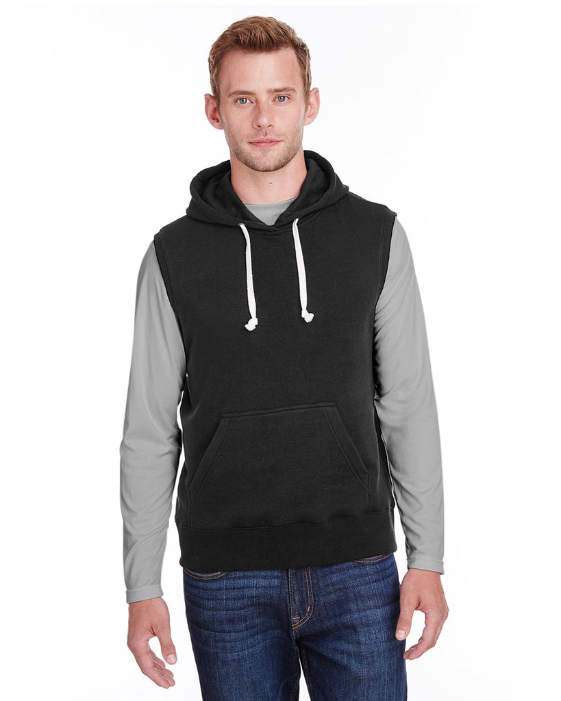 J-America-JA8877-Adult Triblend Fleece Sleeveless Hooded Sweatshirt
