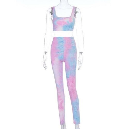 Tie Dye Sexy Paded Camis Leggings 2 Pieces Set
