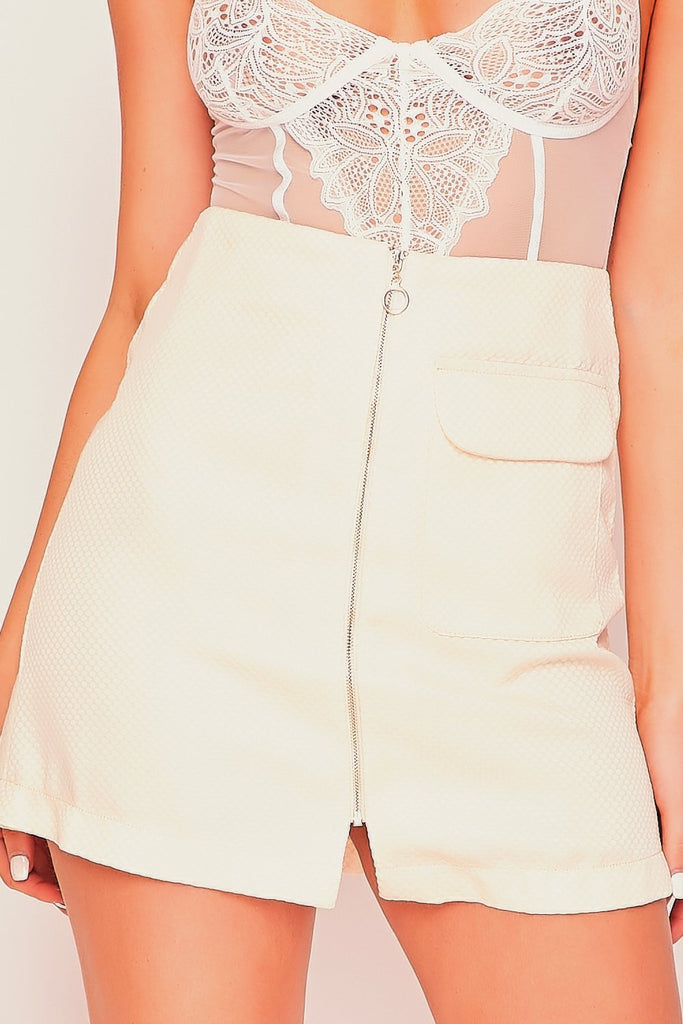 Nude Textured Zip Front Mini Skirt