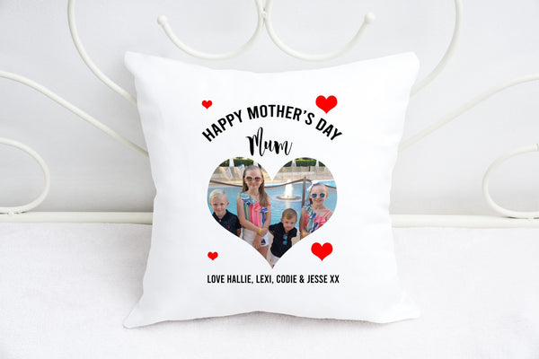 """Love heart"" photo cushion for Mum"