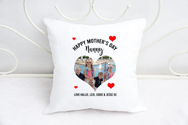 """Love heart"" photo cushion for Nan"