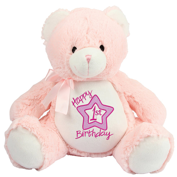 Gorgeous Personalised Teddy - 1st Birthday - Girl