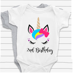 2nd Birthday Unicorn Baby Vest