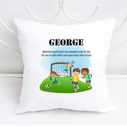 Boys Personalised football design worry cushion
